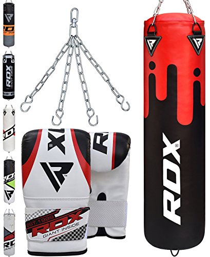 RDX Punch Bag Filled Set Kick Boxing Heavy MMA Training with Gloves Punching Mitts Hanging Chain Ceiling Hook Muay Thai Martial Arts 4FT 5FT