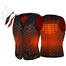 ATATAKAI USB Charging Electric Heated Body Warmer Down Vest, Washable Size Adjustable Heated Clothing for Outdoor Hike, Hunt, Camp(Black)