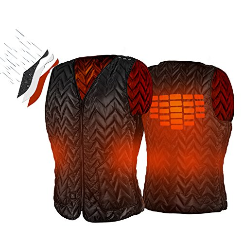 Vest Hunting Down (ATATAKAI USB Charging Electric Heated Body Warmer Down Vest, Washable Size Adjustable Heated Clothing for Outdoor Hike, Hunt, Camp(Black) (Black))