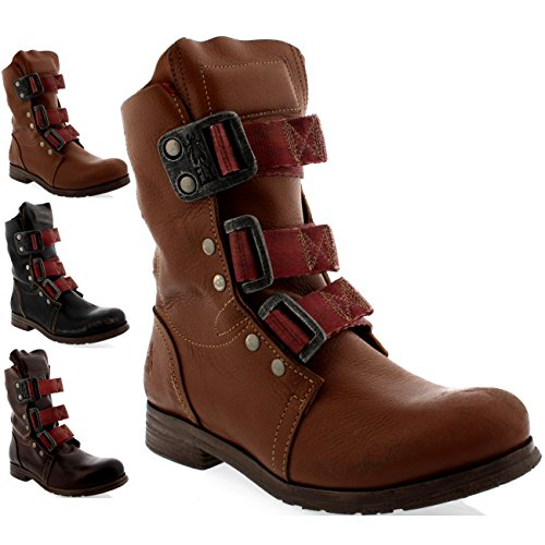 Womens Fly London Stif Leather Pull On Military Biker Buckle Ankle Boots
