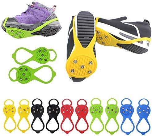 HONYAO Glace Traction Crampons Antid/érapant Chaussures//Bottes 11 Clous Neige Grips Crampons Pointes pour Hommes Femmes Enfants en Toute S/écurit/é Marcher sur Neige et Glace