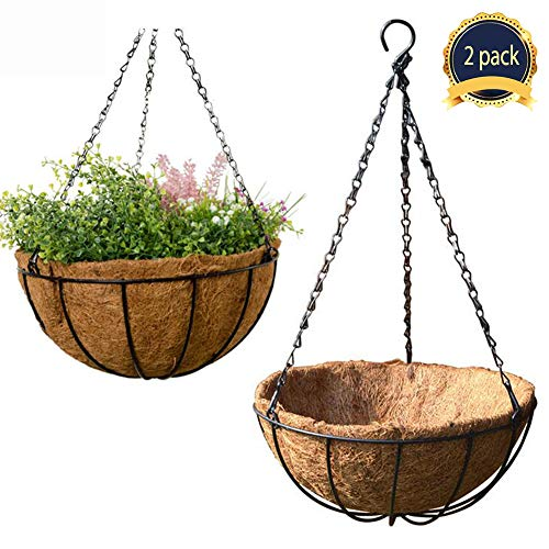 2Pack Metal Chain Hanging Planter Hanging Flower Basket with Coco Coir Liner, 12inch Round Wire Plant Growers Holder Flower Pots Hanger for Indoor Outdoor Garden Porch Decoration by HOUSWOUKER