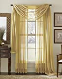 """LuxuryDiscounts Beautiful Elegant Solid Gold Sheer Scarf Valance Topper 38"""" X 216"""" Long Window Treatment Scarves"""