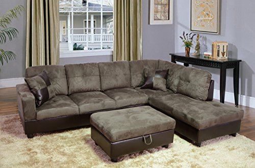 Beverly Furniture 3 Piece Microfiber and Faux Leather Upholstery Left-facing Sectional Sofa Set with Storage Ottoman, Stone Gray