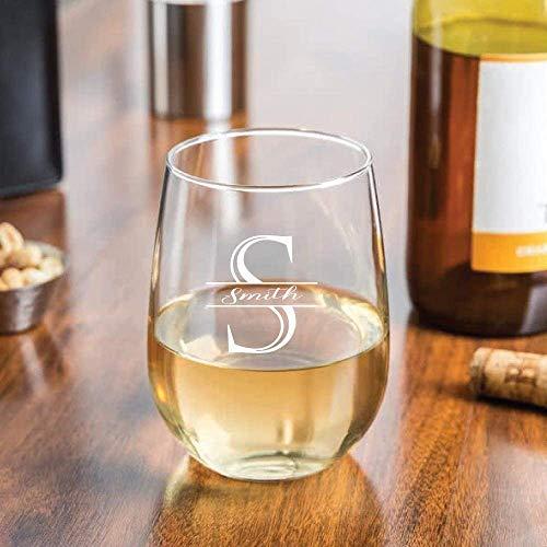 Personalized Stemless Wine Glass Monogrammed Wedding Decor Custom Business Logo-Stemless - Glasses Wine Custom