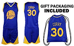 Steph Curry Jersey Kids Basketball Curry Jersey & Shorts Youth Gift Set ? Premium Quality ? Basketball Backpack GIFT PACKAGING ?