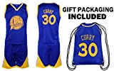 Fan Kitbag Steph Curry Jersey Kids Basketball Curry Jersey & Shorts Youth Gift Set ✓ Premium Quality ✓ Basketball Backpack GIFT PACKAGING ✓ (YS 6-8 Yrs Old, Curry Jersey Gift Set)
