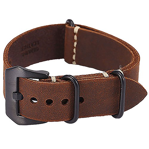 (Carty Replacement Watch Band Strap Vintage Handmade Crazy Horse Leather Zulu NATO 22mm Dark Brown)