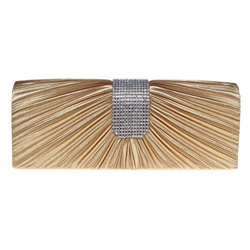 Fashion Road Evening Clutch, Womens Pleated Rhinestone Clutch Purses, Handbag for Wedding & Party Gold by FASHIONROAD