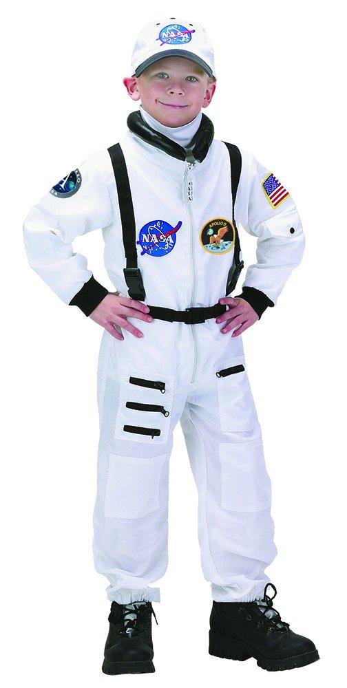 Aeromax Jr. Astronaut Suit Apollo 11 Costume with Cap, 8/10, White