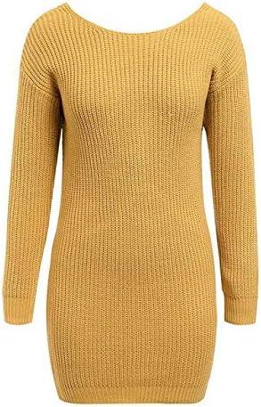 TICEGP Épaule Hors Robe tricotée Dos Nu Cross Fashion Manches Longues Femmes Robes Automne Hiver Tenue Pull décontractée Yellow