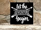 Cheap Let the adventure begin – 12″x12″ wood sign