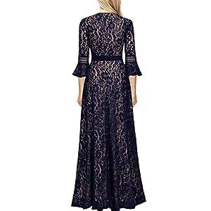MISSMAY Women's Vintage Full Lace Contrast Bell Sleeve Formal Long Dress
