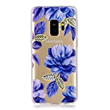 Clear Case for Samsung Galaxy S9 Plus,Aoucase Ultra Thin Art Pattern Soft TPU Rubber Shockproof Non-Slip Back Case with Black Dual-use Stylus,Blue Flower