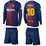 Barcelona Messi Kids #10 Soccer Kit Jersey and Shorts Short Sleeve OR Long Sleeve All Youth Sizes