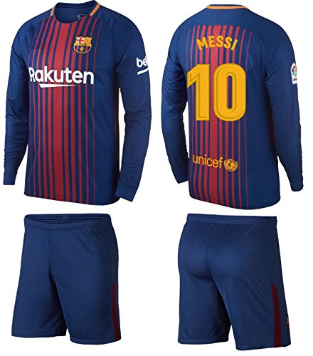 Barcelona Messi Kids  10 Soccer Kit Jersey and Shorts Short Sleeve OR Long  Sleeve All 9f68be907