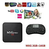 Android TV BOX + Wireless Keyboard, 4K Improved Version MXG Pro 2GB/16GB Android 6.0 S905X Quad Core
