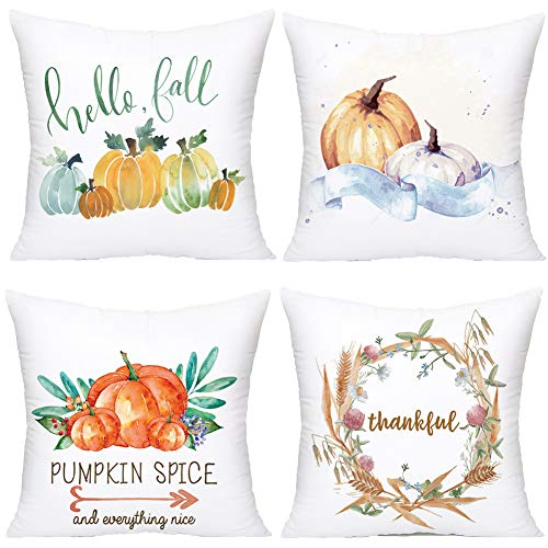 Royalours Pillow Covers 4Pack Halloween Pumpkin Spice Throw