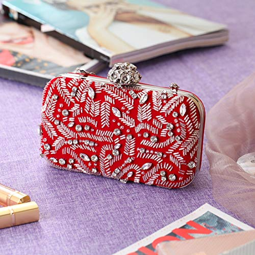 Red Fly Dinner Banquet Personality Bag Craft American Beaded Flannel Bag bag Trendy European Fashion Bag Casual evening Bag TwqPTAgr