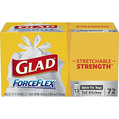 (Glad Tall Kitchen Quick-Tie Trash Bags – ForceFlex 13 Gallon White Trash Bag, Unscented - 72 Count)