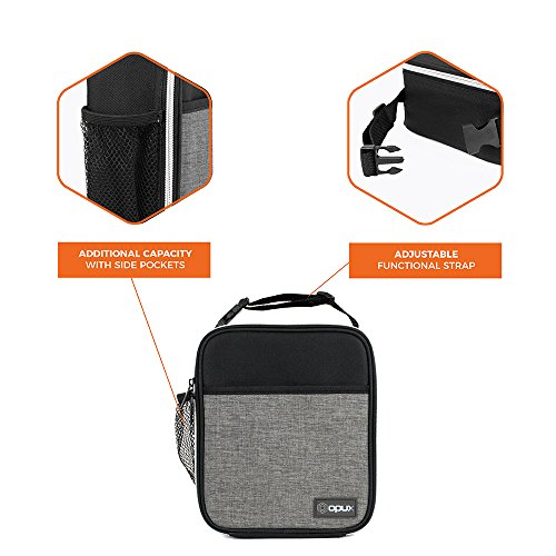 OPUX Premium Thermal Insulated Mini Lunch Bag | School Lunch Box For Boys, Girls, Kids, Adults | Soft Leakproof Liner | Compact Lunch Pail for Office (Heather Gray) by OPUX (Image #4)