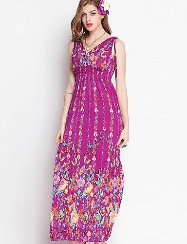 PU&PU Robe Aux femmes Swing Grandes Tailles , Imprimé V Profond Midi Soie , purple-m , purple-m
