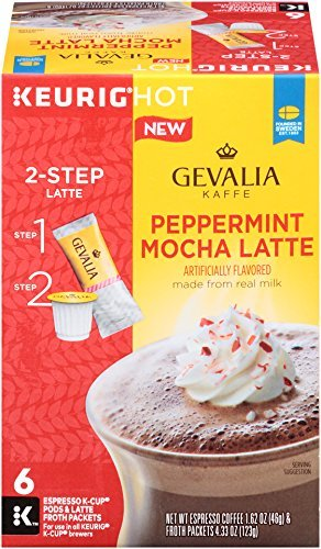 Gevalia Peppermint Mocha Latte and Espresso K Cup Pods(6 Ct.) with Latte Froth Packets, 5.95 Ounce - Packet Class First