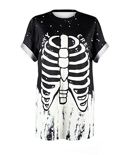 Honeystore Unisex Punk Casual Couple Top Print Novelty Halloween Costume T-Shirt Stay Creepy L/XL -