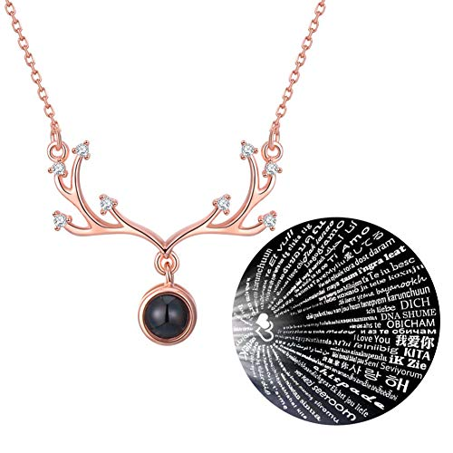 (GulCean I Love You Necklace 100 Different Languages Antler Rose Gold with Box Deer Elk Memory Projection Necklace Express I Love U Birthday Valentine's Day Present for Girlfriend Daughter Mom)