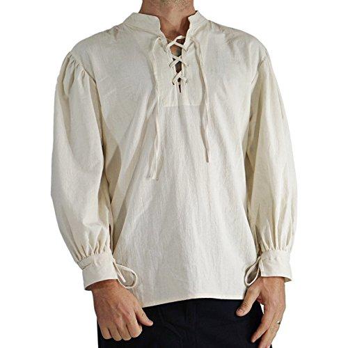 'Merchant' High Collar, Renaissance Festival Costume Shirt, Pirate, Steampunk - Cream/Off White by Zootzu (Image #1)
