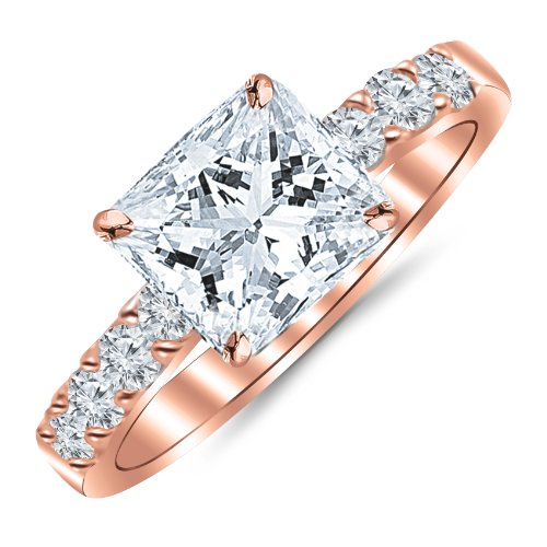 1.10 Carat Princess Cut/Shape 14K Rose Gold Classic Prong Set Diamond Engagement Ring with a 0.60 CWT, I-J Color, Eye Clean Clarity Center Stone