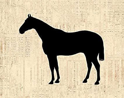 Horse Silhouette Wall Art Print for Western Farm Animal Themed Home Decoration Antique Horse Art Print : horse silhouette wall art - www.pureclipart.com