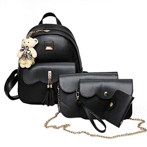 InisIE 4pcs / set di cuoio nero delle donne della signora Zaino con nappe bambola dell'orso spalla della borsa della carta