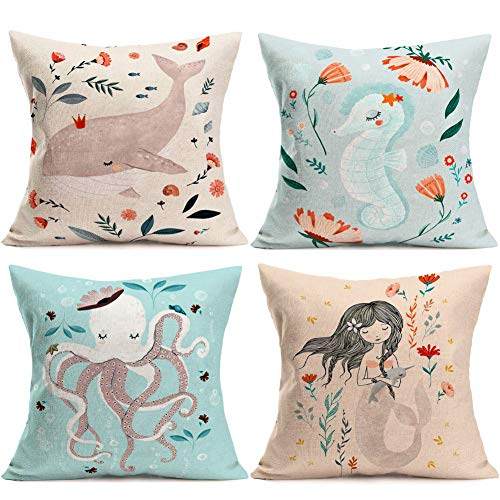 YANGYULU Summer Ocean Theme Decorative Throw Pillow Covers Floral Whales Seahorses Octopus Mermaids Marine Animals Home Decor Cotton Linen Cushion Cases for Patio Sofa Couch 18X18 Set 4 (Ocean Theme) (Pillow Mermaids Sham)