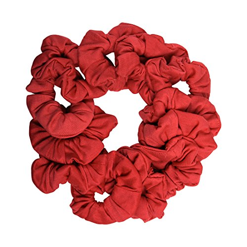12 Pack Solid Hair Ties Scrunchies - Red by Motique Accessories
