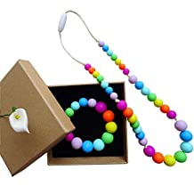 Silicone Teething Necklace Set in Gift Box-Girl Necklace/Bracelet - Bite Beads Nursing Necklace Jewelry - Teether Chewing Beads - Chew Jewelry Beads-Rainbow Color silicone teething necklace set for little girls