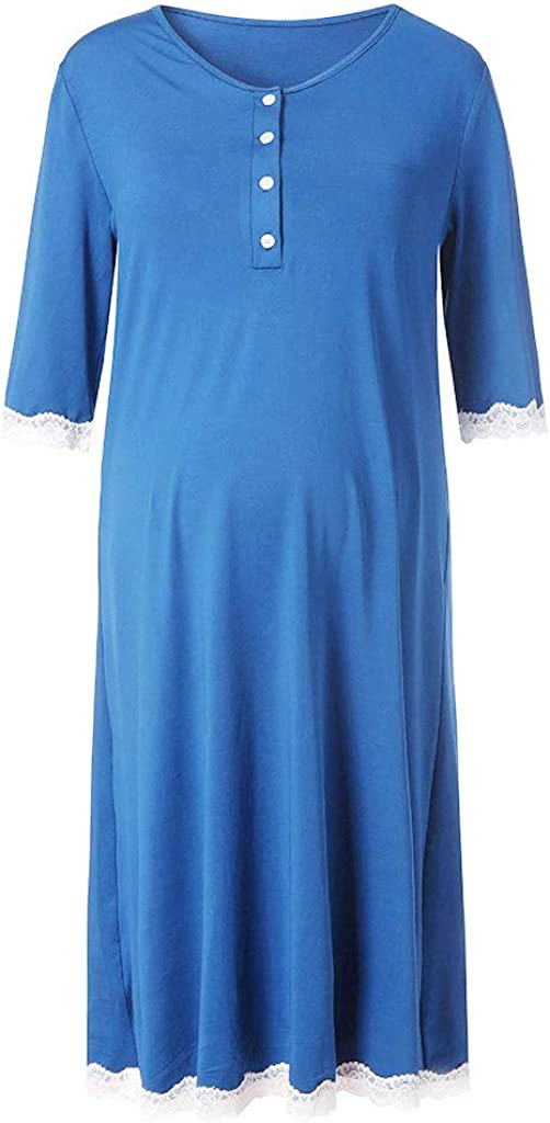 DFVVR Maternity Nursing Lace Delivery Nightgowns Tracksuit Breastfeeding Gown Dress
