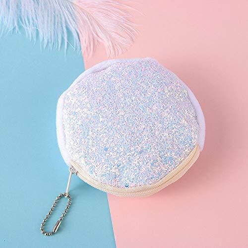 Change Bag Sequins Handbag Kids Coin Purse Mini Glitter Wallet Party Clutch (Color - white)