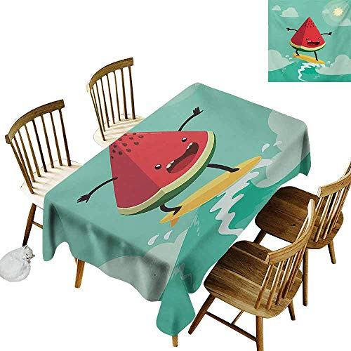 (Mannwarehouse Surf Polyester Tablecloth Cute Watermelon Riding The Waves Surfing in The Ocean Popular Summer Activity Party W52 x L70 Red Green)