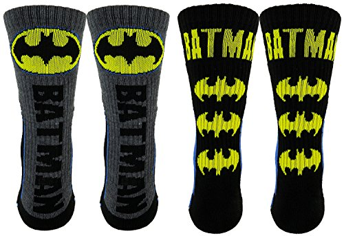 Batman Mens Athletic Crew Socks 2 Pair Pack (One Size, Black/Blue/Yellow)