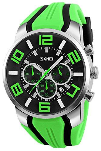 Mens Big Face Watch Unique Fashion Colorful Analog Quartz Chronograph Sports Wristwatches Green