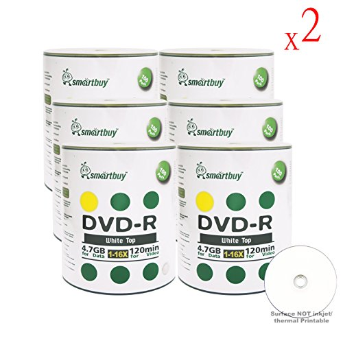 Smart Buy 1200 Pack DVD-R 4.7gb 16x White Top Blank Data Video Movie Record Disc, 1200 Disc 1200pk by Smart Buy