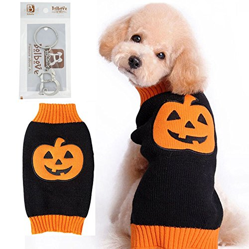 Bolbove Pet Pumpkin Cable Knit Turtleneck Sweater for Cats & Small to Medium Dogs Holiday Knitwear Cold Weather Outfit (Pumpkin Outfit For Dogs)
