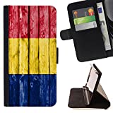 FJCases Romania Romanian Wood Pattern Flag Slim Wallet Card Holder Flip Leather Case Cover for Apple iPhone 6 Plus / iPhone 6S Plus