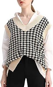 SAFRISIOR Oversized Houndstooth Knitted Vest Sweater Vintage V Neck Loose Sleeveless Sweater