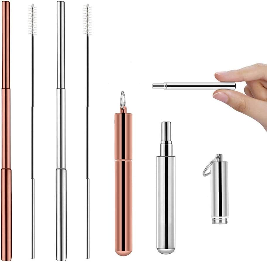 Ozetti Portable Reusable Drinking Straws 2 Set - Portable Collapsible Telescopic, 2pc Rose Gold and Silver Stainless Steel Metal Straw, Eco Friendly Food Grade, Key Ring Keychain Case, Cleaning Brush