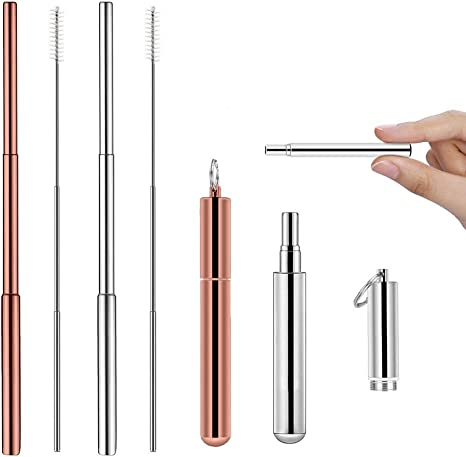 Extra Wide /& Brush /& Pouch 4pc Stainless Steel Metal Silver Drinking Straw Kit