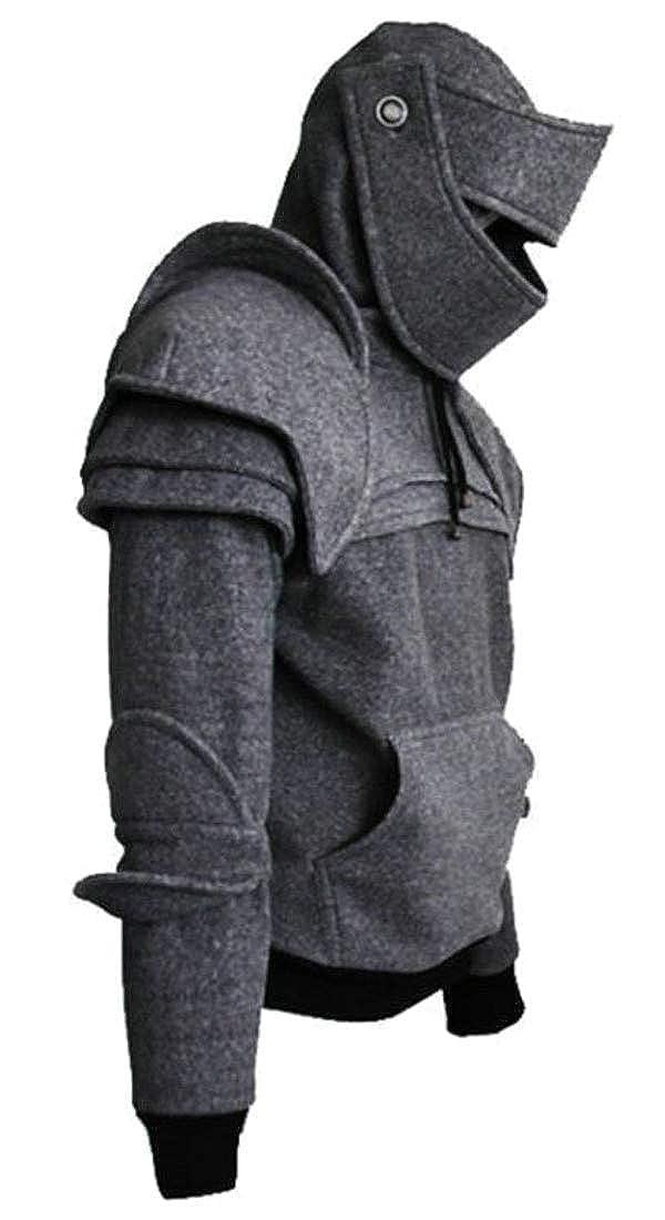 Fubotevic Men Retro Hoodie Knight Mask with Pocket Drawstring Hooded Sweatshirt