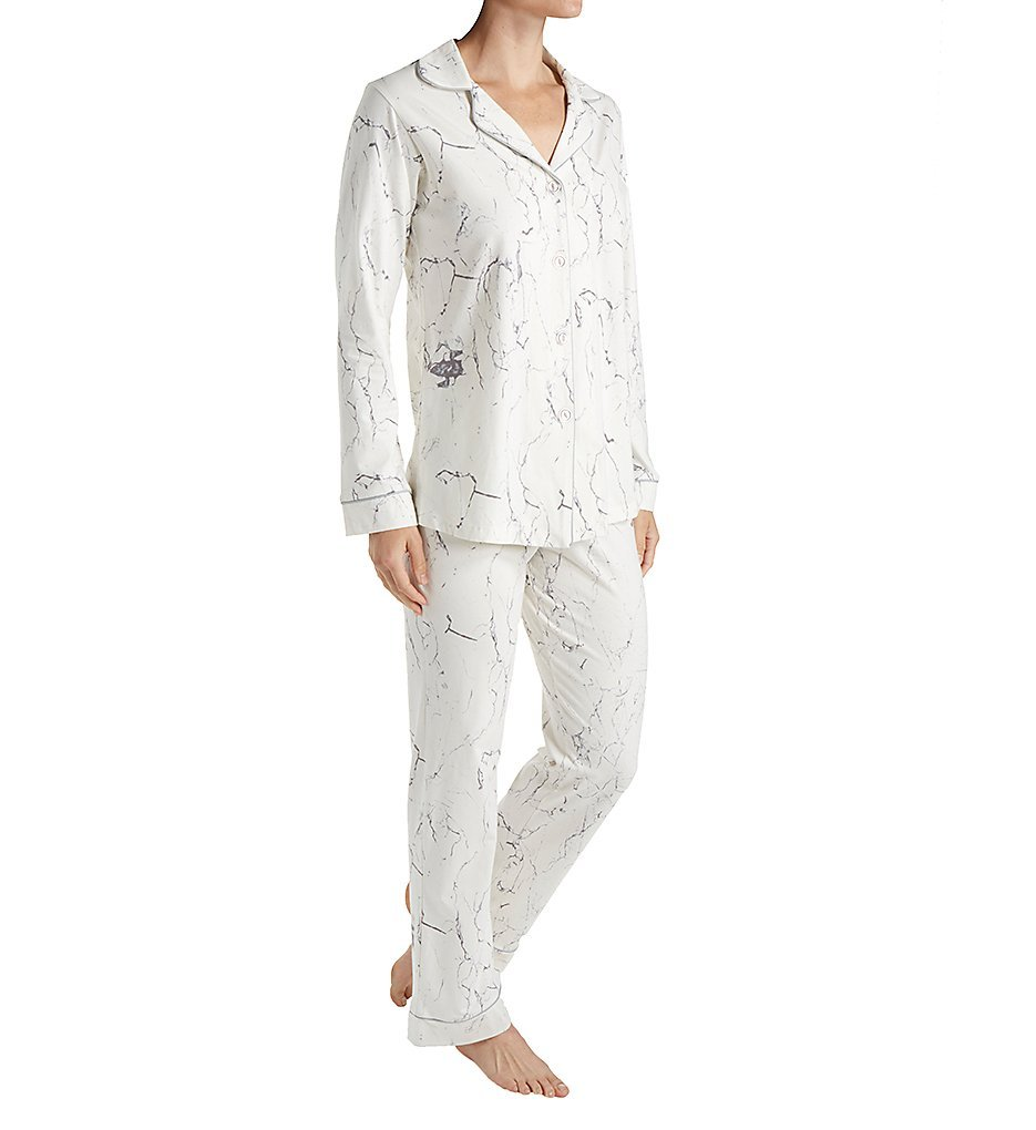BedHead Women's Long Sleeve Classic Stretch Knit Pajama Set Marble Large