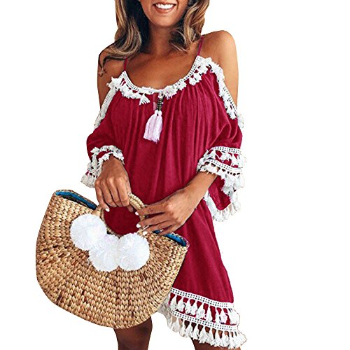(Women's Summer Cold Shoulder Crochet Lace Sleeve Loose Beach Dress Baggy Tassel Beach Cover up Mini Bohemian Dress Red)